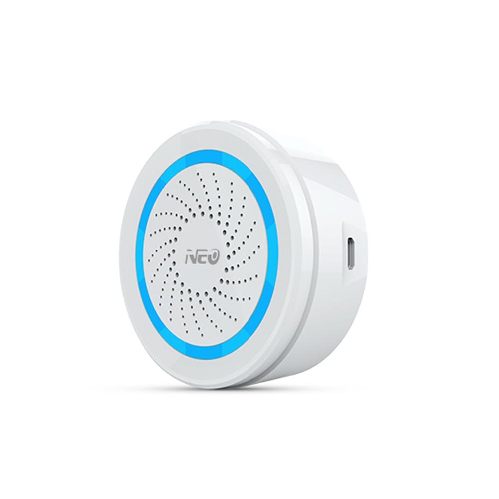 NEO Z-wave Plus Domotique Sans Fil Alimenté Par Batterie Peut Également Être Chargé Avec Sirène USB Capteur D'alarme