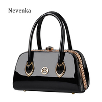 Nevenka Fashion Women Evening Bag Socialite Metal Diamonds Make Up Bags Patent Leather Cosmetic Bag Flap