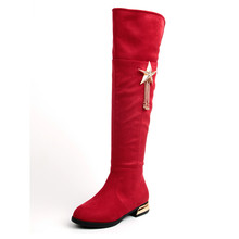 Girls High Boots Suede 2017 New Over Knee Boots Flock Metal Star Tassel Princess Fashion Botas Red Black Boots Size 26-37