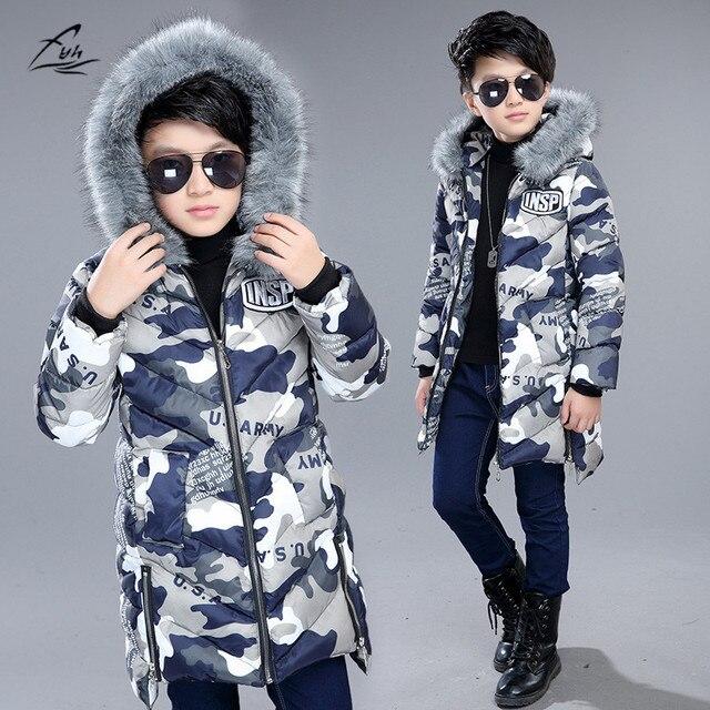 207a6ecfc9a2 FYH Kids Clothes Winter Boys Fur Hooded Parka School Children Winter ...