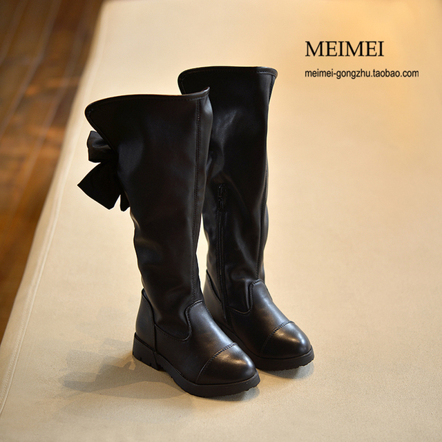 2016 Winter children's shoes Princess Martin boots Girls plush over-the-knee boots Kids warm fashion leather boots Bow Black