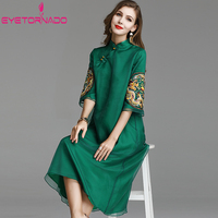 Women Long Cheongsam Dress 2019 Dragon Embroidery Chinese Style Vintage Casual Dress Summer Ethnic Loose Robe Dress for Women