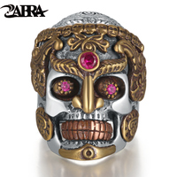 ZABRA Punk Rock Hyperbole Skull Smile Inlay Stone Red Garnet Ring for Men Women Gothic Bague Solid 925 Sterling Silver Jewelry