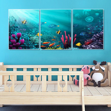 Laeacco 3 Panel Canvas Calligraphy Painting Cartoon Undersea Treasure Bubble Wall Art Posters and Prints Living Room Home Decor