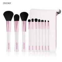 Docolor Neue 10 STÜCKE Weiß Rosa Make-Up Pinsel Professionellen Make-Up Pinsel mit Tasche kostenloser versand