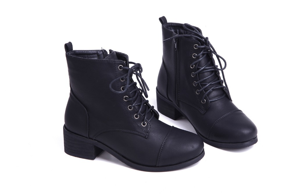 many fashionable high quality autumn shoes workpatch women lace up zipper boots low heel ankle boots-in Ankle ...