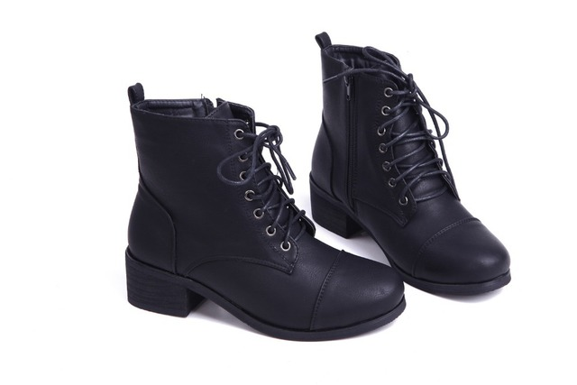 workpatch women lace up zipper boots low heel ankle boots-in Ankle ... 8ec3fc1179f1