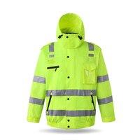 Светоотражающая хлопковая одежда patrol security Всепогодная куртка предупреждение о движении флуоресцентный плащ для печати персонажей
