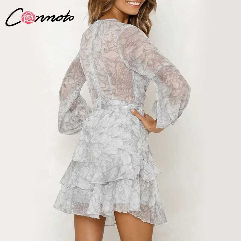 Conmoto בציר הדפסת קיץ שמלות נשי אלגנטי מפלגה קצר שמלת קשת סקסית קפלי שיפון שמלת נשים Vestidos 2 צבעים