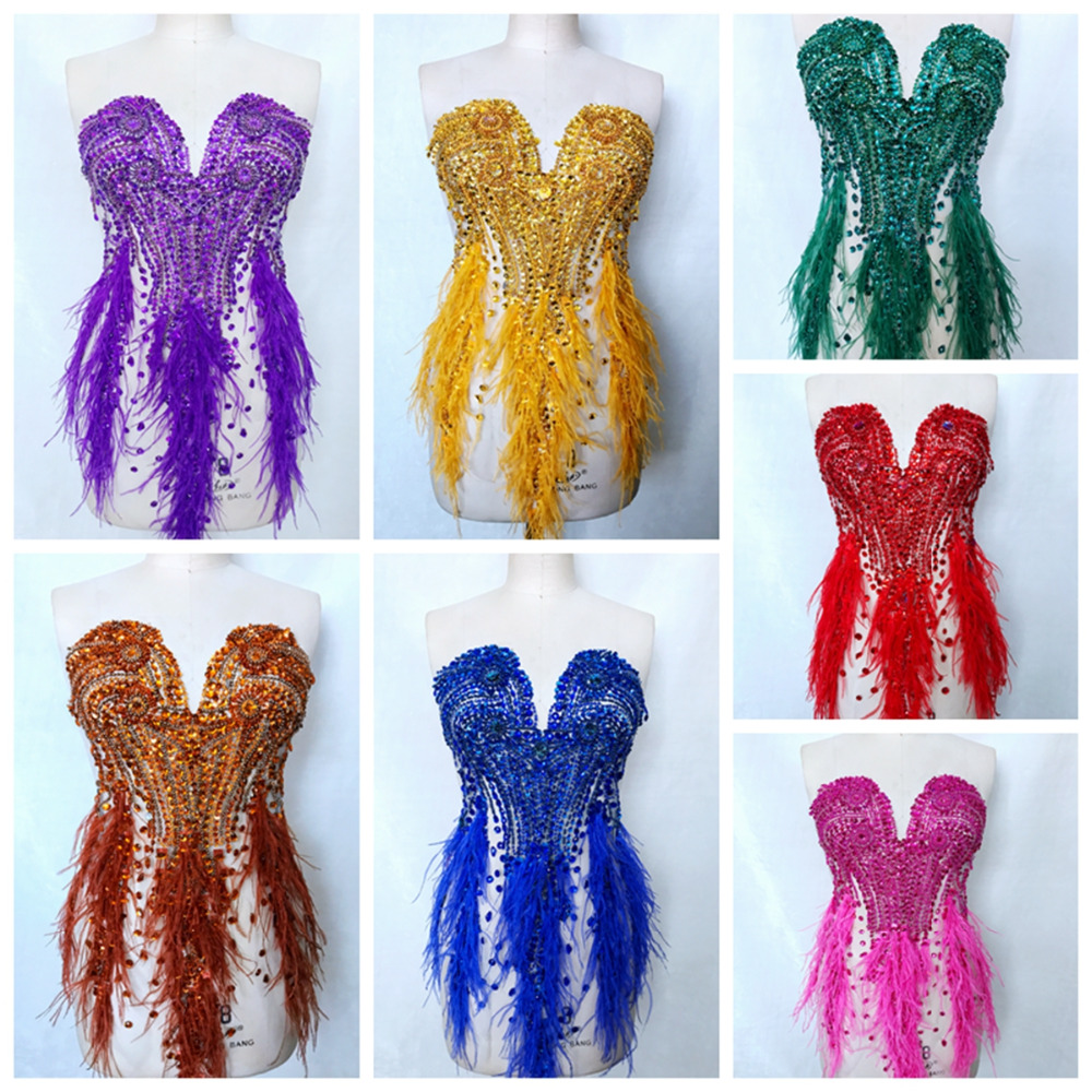 11colour Handmade rhinestones applique full body sew on Ostrich hair decoration trim patches for dress front