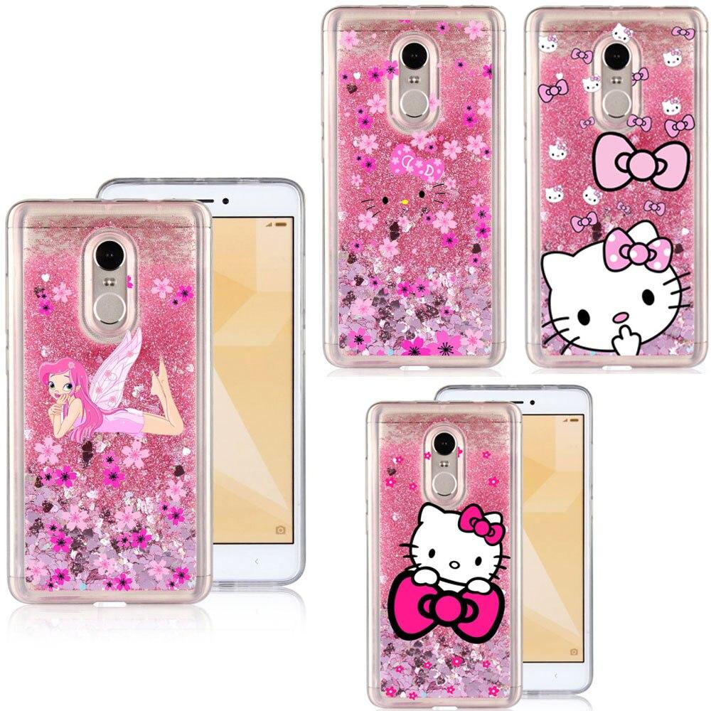 best website 9783d bb056 Liquid Water Phone Case For Xiaomi Redmi Note 3/Note 4/Note 4X/Note 5A  Cartoon Hello Kitty Sparkle Glitter Stars TPU Cover