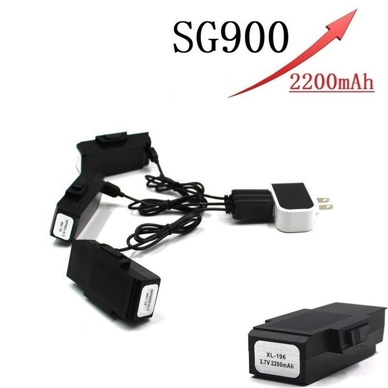 Upgrade Battery and Charger For SG900 <font><b>F196</b></font> X196 X192 RC Drone Helicopter Quadcopter Spare Parts 3.7V 2200mAh Lipo Battery image