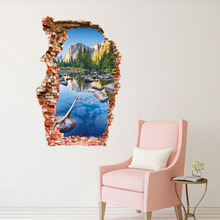 Mountain Scenery Broken Hole Wall Stickers