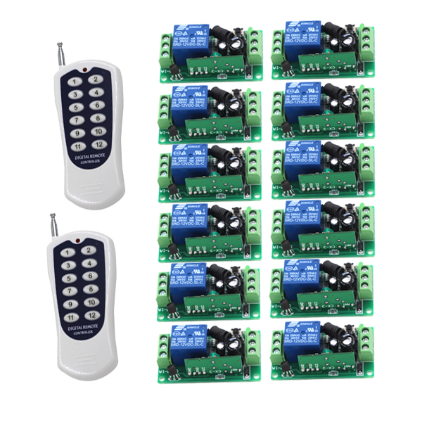 DC 12V 1CH RF Remote Control Switch 315/433MHZ 2xTransmitter and 12xReceiver Newest Design 4284
