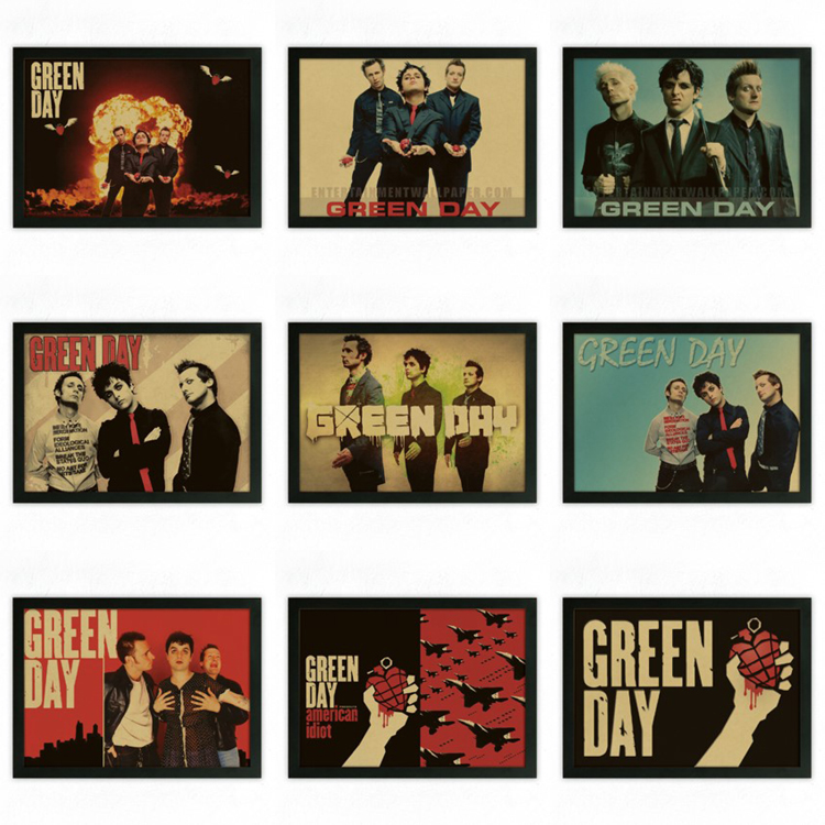 vintage retro green day rock band music guitar matte kraft paper