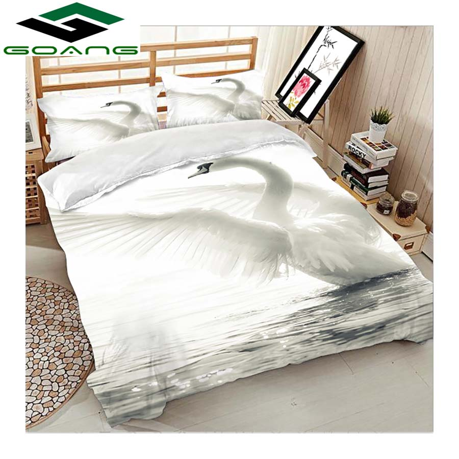 GOANG Super King Size Bedding Sets Bed Sheet Duvet Cover Pillow Case 3d Digital Printing Beautiful White Swan Home Textiles