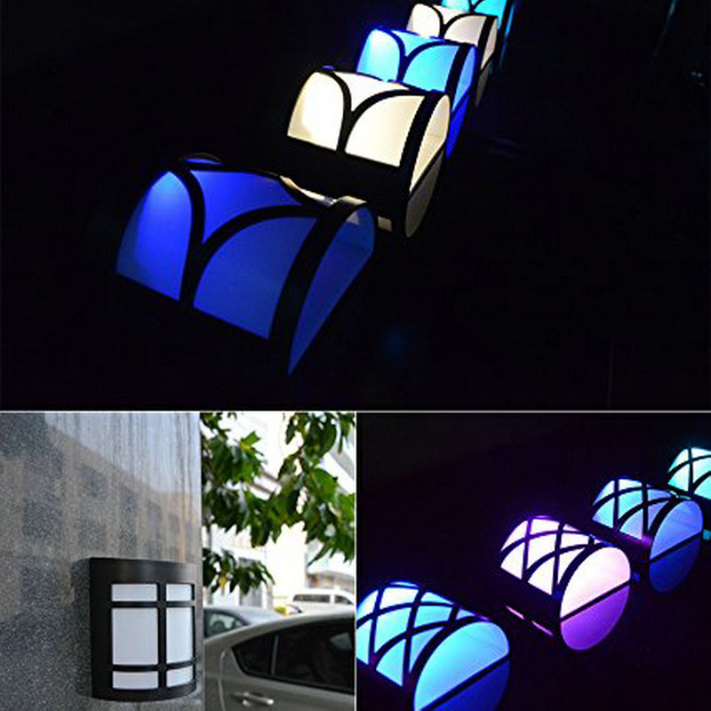 1PC Solar Manual RGB Colorful Wall Lamp Patio Path Garden Fence Lighting Party Indoor Outdoor Decoration Waterproof Nightlight