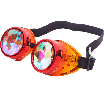 Steampunk Goggles Kaleidoscope Rainbow Crystal Lenses Cosplay Vintage Glasses Welding Men Women Gothic Cool Eyewear 1