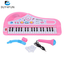 37 Keys Cartoon Mini Electronic Keyboard Music Toy with Microphone Educational Electone Piano Toy Gift for Children Kids Babies(China)