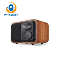 Wooden Multimedia Mini Alarm Clock Small Audio Subwoofer Bluetooth Speakers Plug in Radio with Dust proof Telecontrol Function