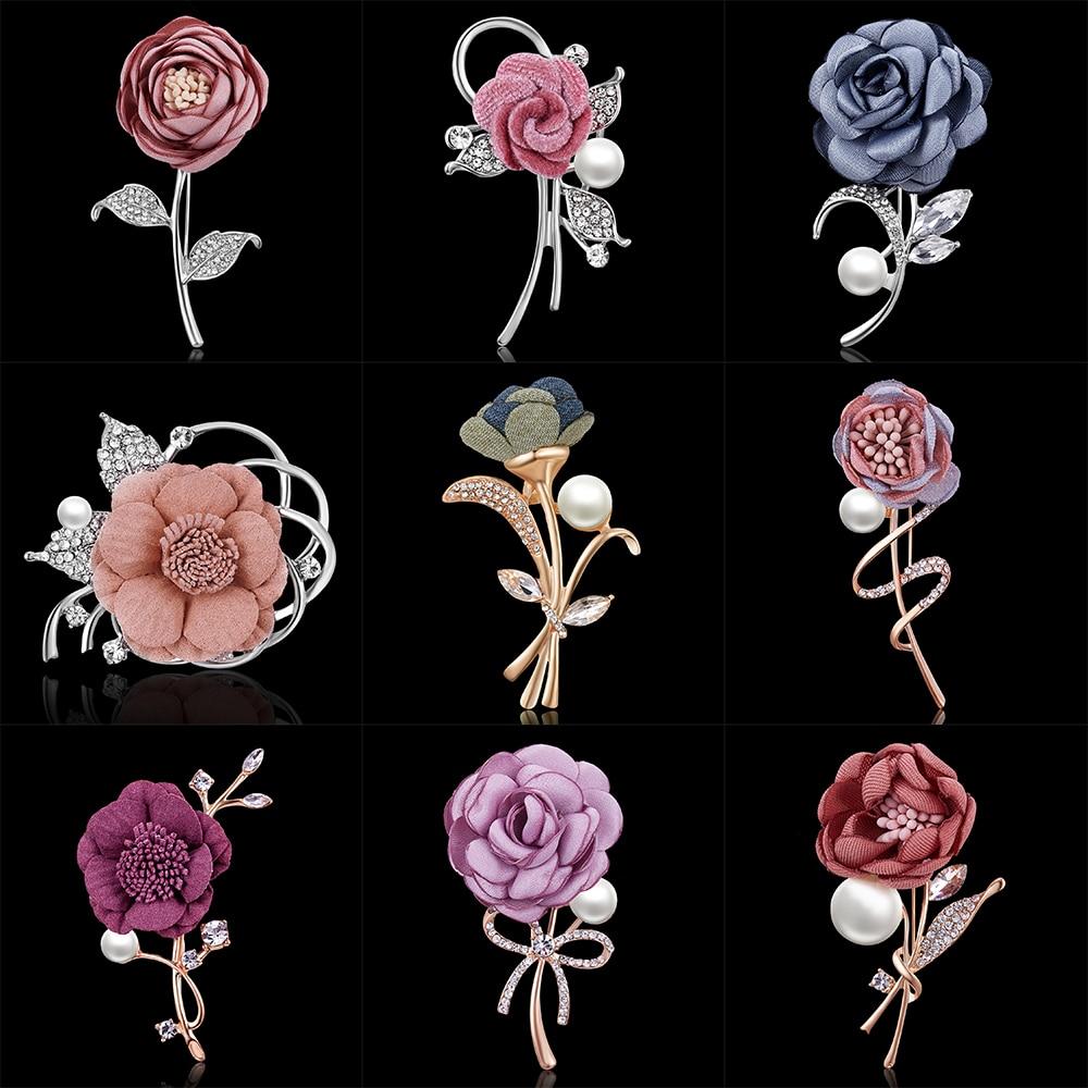 Jewelry Sets & More Jewelry & Accessories Rinhoo Ladies Cloth Art Pearl Fabric Flower Brooch Pin Cardigan Shirt Shawl Pin Professional Coat Badge Jewelry Accessories