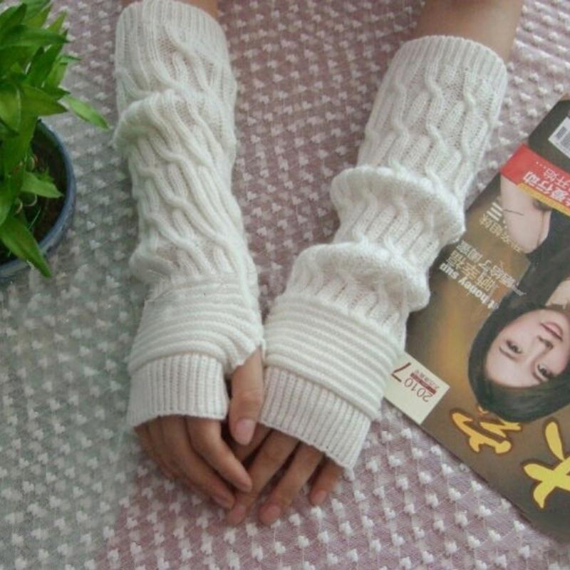 Black Coffee Gray Solid Color Lace Mittens Women Winter Wrist Arm Hand Warmer Knitted Long Fingerless Gloves