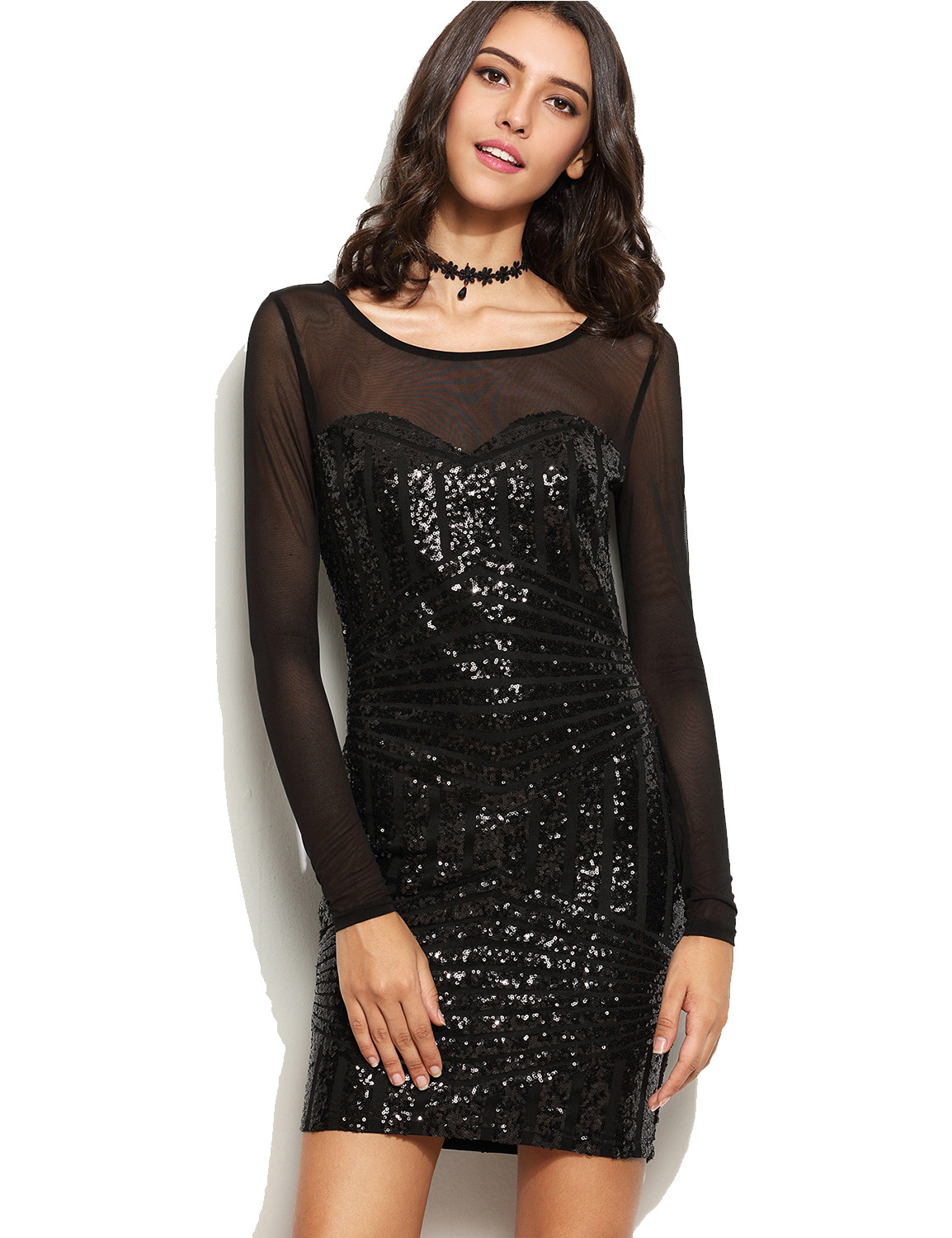 2018 Sexy long sleeve Deep V Back Sequin Dress new year
