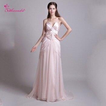 Alexzendra Light Pink Chiffon A Line Long Prom Dresses V Neck Elegant Party Dress Custom Made Plus Size