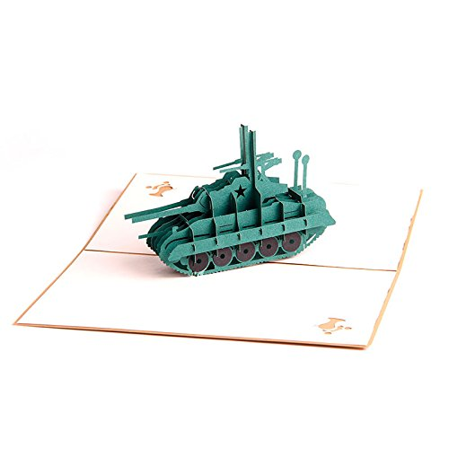 Handmade 3D Pop Up Tank shape Birthday Cards Creative Greeting Cards (Q5132010) ...