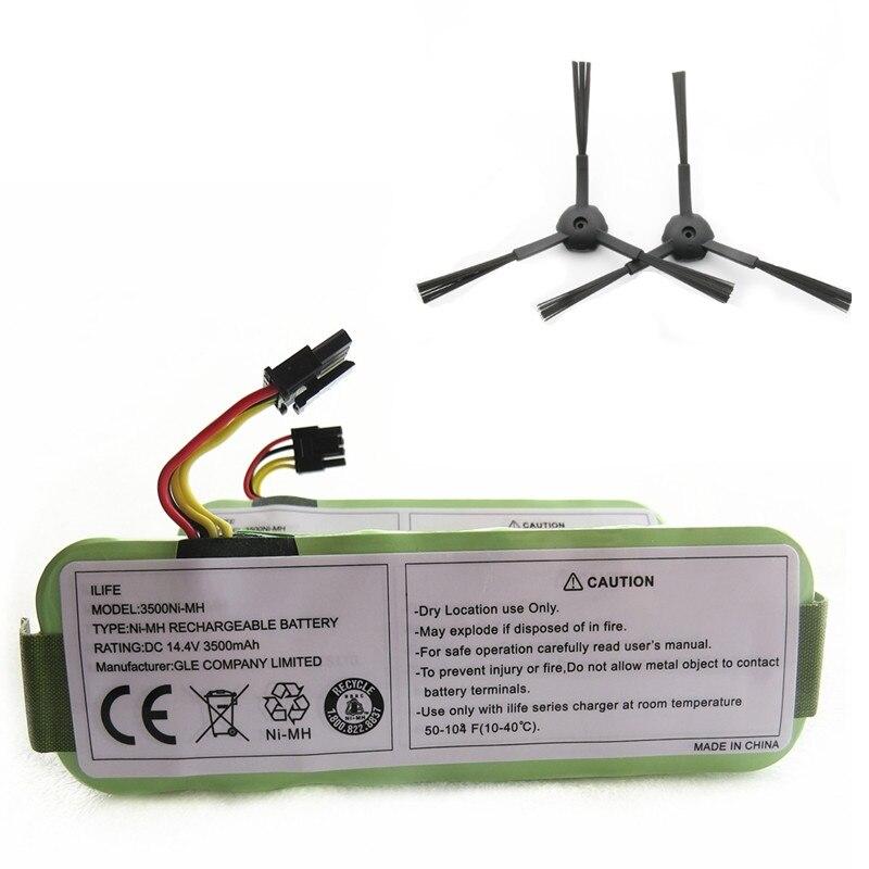 Batterie Pour Ecovacs 14.4 v 3500 mah + UNE paire brosse Latérale pour Ecovacs CR120 Dibea Panda X500 X580 Kk8 haier Balayage batterie pack