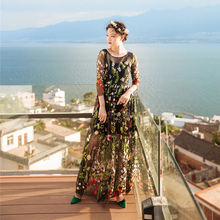 runway maxi dress 2017 autumn elegant good quality vintage floral dress o-neck embroidery maxi dress two piece set