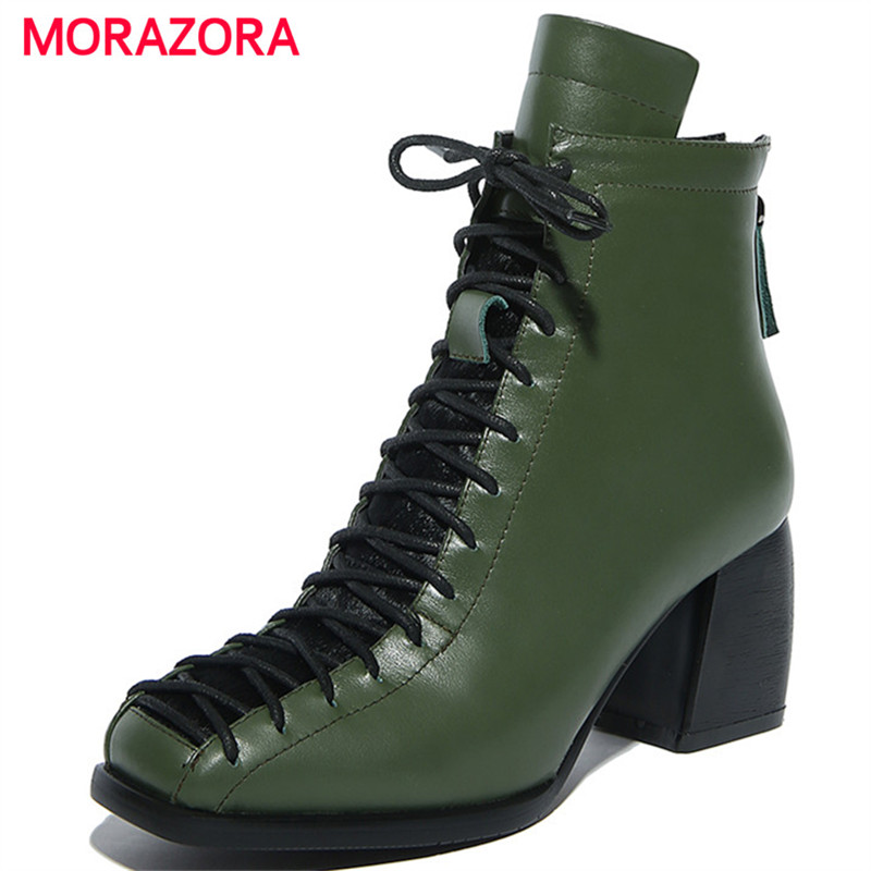 MORAZORA Genuine leather boots woman fashion contracted high heels shoes spring autumn ankle boots solid big