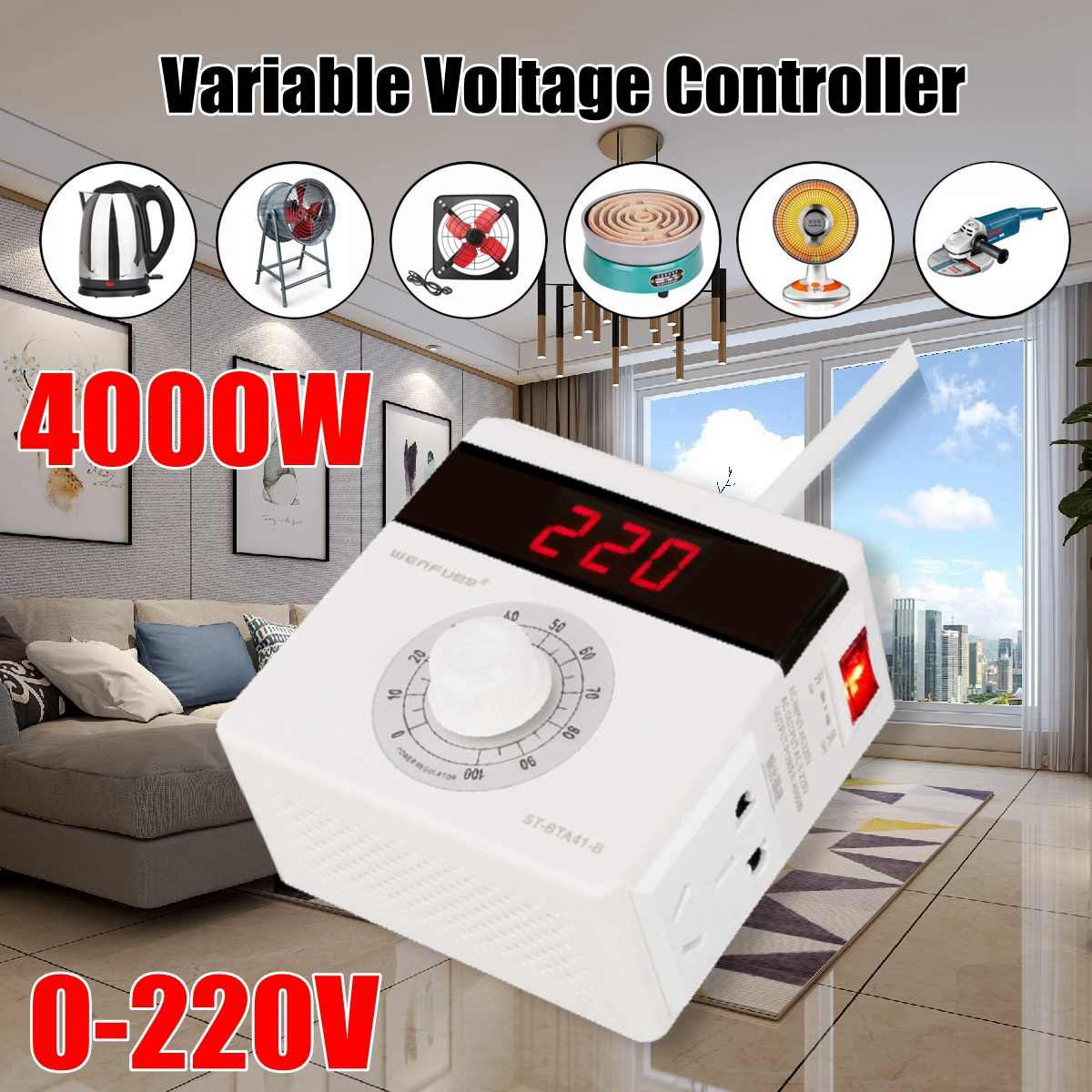 AC <font><b>220V</b></font> 4000W Variable <font><b>Voltage</b></font> <font><b>Regulator</b></font> Temperature Controller Motor FAN Speed Electric Heating Tube Thermostat Speed Switch image