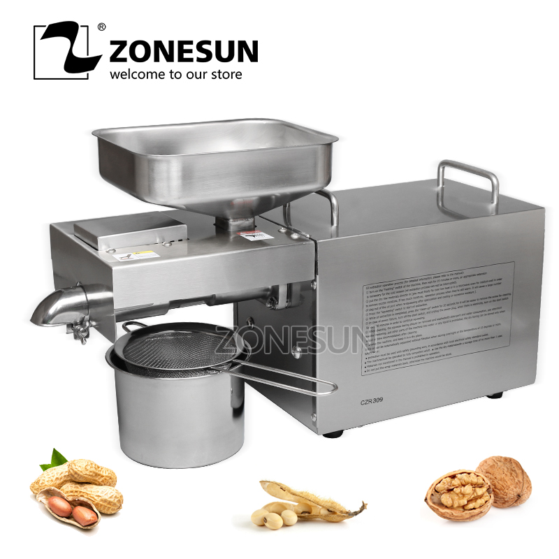 ZONESUN 1500W Stainless steel automatic small seed oil extraction machine cold oil press oil expeller mini oil press machine 110v 220v commercial oil press machine for sale mini oil expeller seed oil extraction machine coconut almond sesame