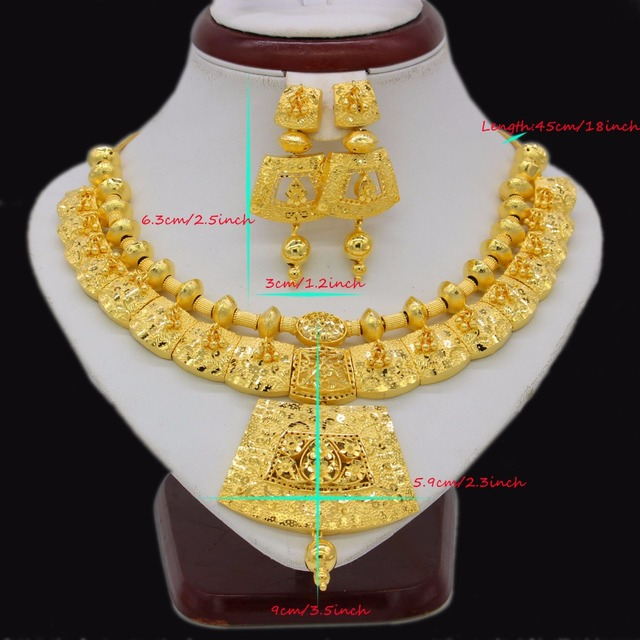 Adixyn 45cm/18inch Necklace Earrings Jewelry Set For Women Girls Gold Color Romantic Arab/Ethiopian/African Wedding Accessories