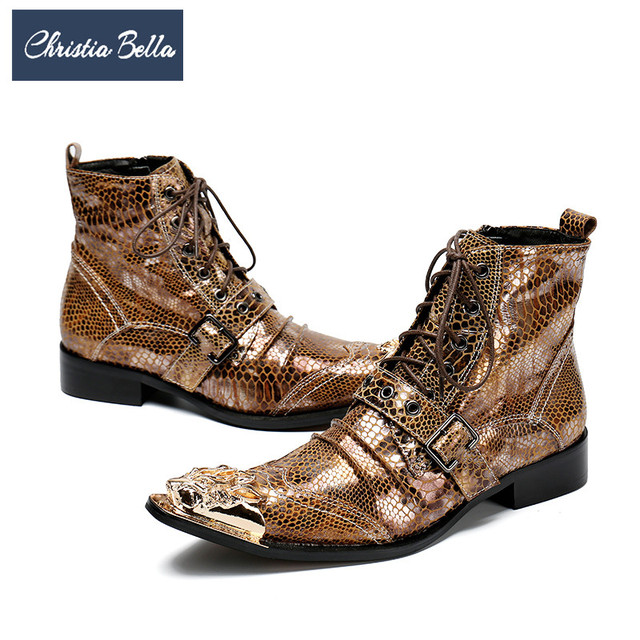 Christia Bella Italian Men Ankle Boots Metal Pointed Toe Men Short Boots Genuine Leather Gold Lace Up Motorcycle Cowboy Boots