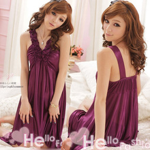 New Women Lace Nightdress Soft Satin Nightgown Sleepwear Sexy  Nightwear