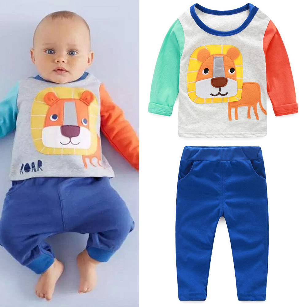 2pcs Newborn Toddler Baby Boys Girls Clothing Set Kids Baby Suit Infant Outfit Cartoon Cat Long Sleeve T-Shirt+ Pants Trousers