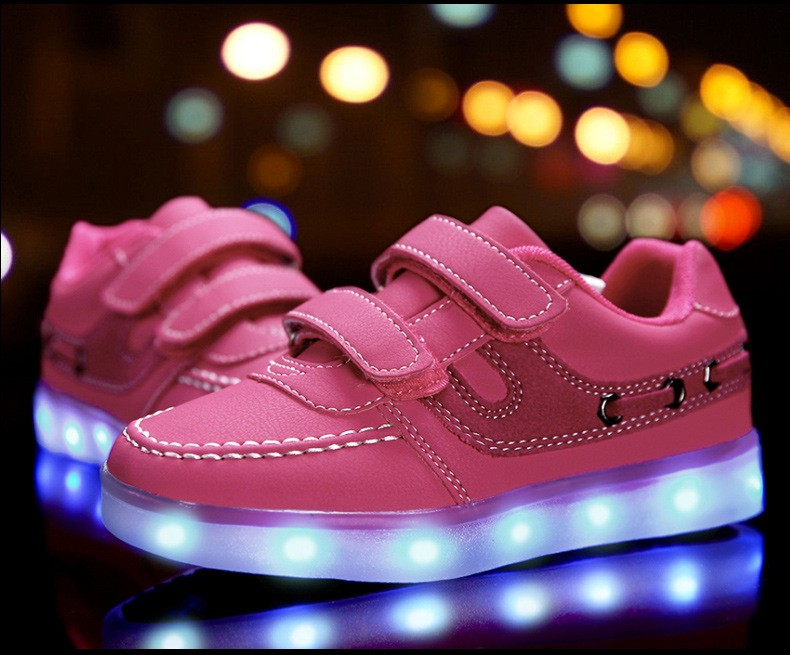 Children shoes with light 17 baby boys girls LED light shoes kids breathable fashion sneakers glowing USB charging shoes 6