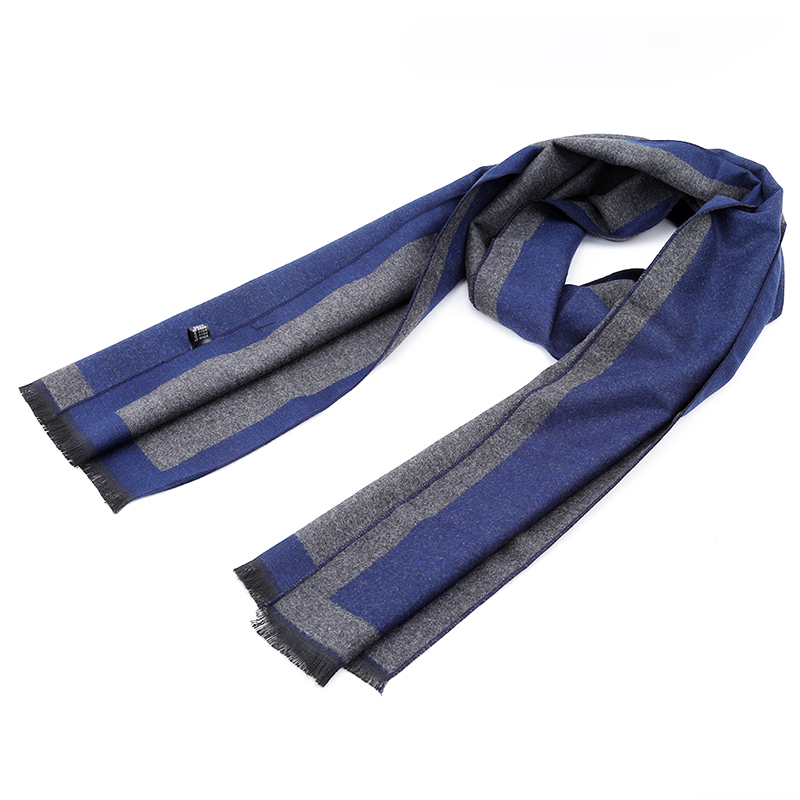 2018 New Brand Men Scarves Winter Men's Gift Gray Striped Scarves Business Gentleman Faux Cashmere Scarf Bufanda(China)