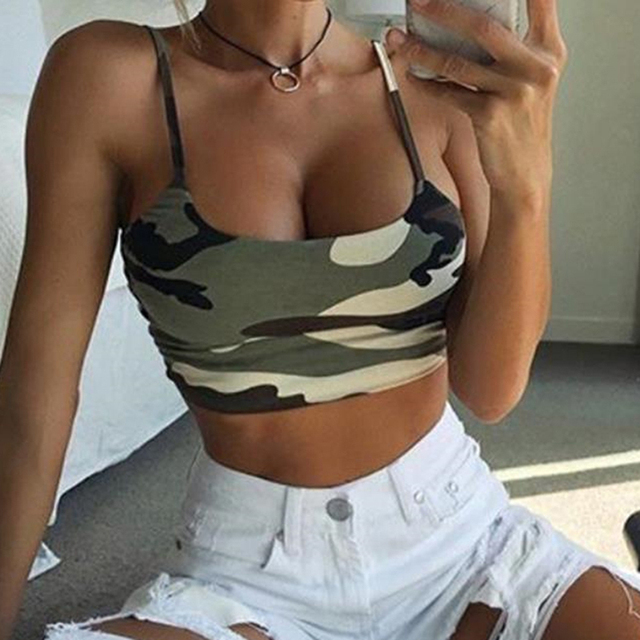 Women's Summer Basic Tees Sexy Strappy Sleeveless Camouflage Print Crop Top High Quality
