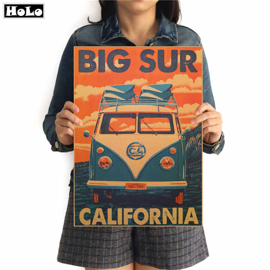 ROUTE 66 CALIFORNIA BUS Vintage Wall Sticker Retro Poster Walls Paper Classic Painting for Living Room GGA022 42x30cm