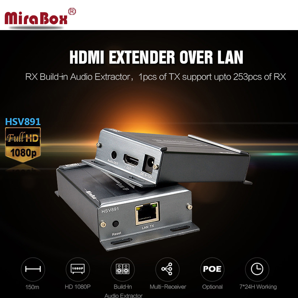 Multi-receiver HDMI Extender HSV891 with 3.5mm Audio Extractor support 1080p over LAN Maximum 253pcs of RX up to 120 meters 80 channels hdmi to dvb t modulator hdmi extender over coaxial