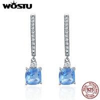 Romantic 925 Sterling Silver Light Blue Square WOSTU Wyczyść CZ Hoop Kolczyki Dla Kobiet Srebro Biżuteria Brincos CQE190