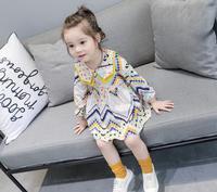 2017 Outono Meninas Do Bebê Floral Coreano Moda Vestido De Algodão, crianças Meninas Lolita Estilo Convergente Roupas de Manga Frete Grátis