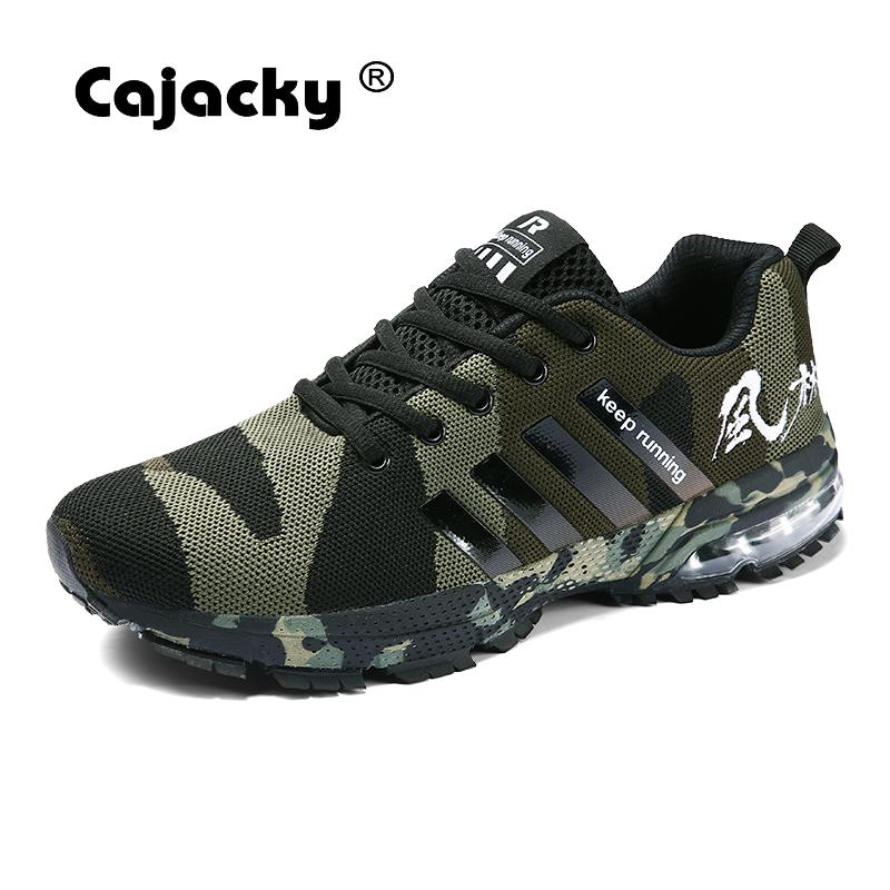 Cajacky Men Casual Shoes Plus Size 47 46 Summer Military Trainers Unisex Sneakers Lace Up Camouflage Men Shoes Male Krasovki New cajacky unisex sneakers 2018 mesh casual shoes men mesh lace up male fly weave krasovki men fashion light breathable trainers