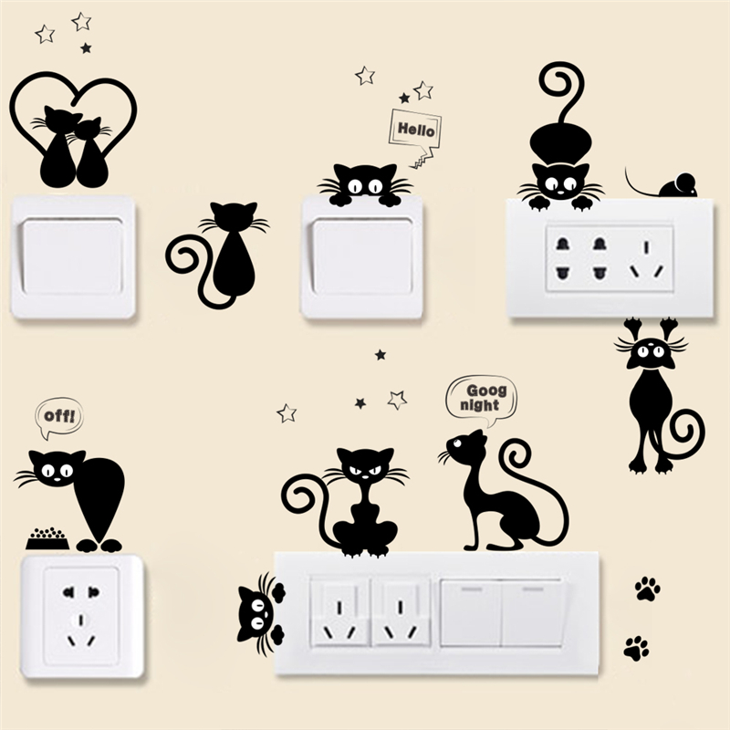 lovely cat phone light switch wall stickers for kids rooms parlor diy home decoration cartoon animals wall decals pvc mural art