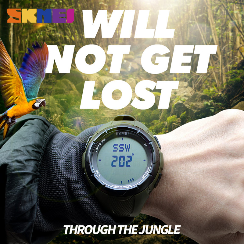 SKMEI Men Sports Watches Relogio Masculino Clock World Time Compass Countdown Wristwatches 50M Waterproof 3 Alarm Digital Watch