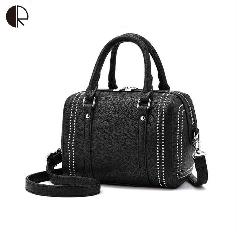 Women Messenger Bags bolsa feminina Rivet Handbag Boston Bag Female PU leather Handbags Shoulder Bags Crossbody Bags for Women new fashion women bags women s solid pu leather handbags cross body shoulder bags female vintage messenger bag bolsa feminina