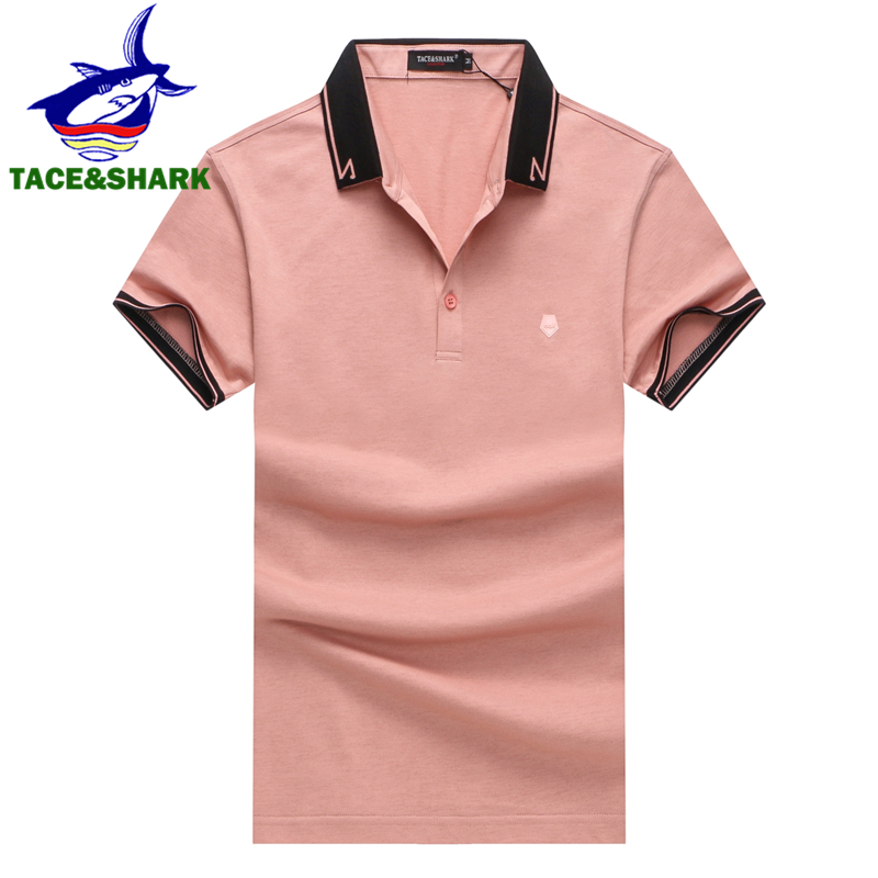 TACE&SHARK Brand Lapel Personality Polos Shirt Camisa Masculina Fashion Men Polo Shirt Business Casual Solid Color Male 3XL